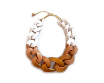 Gold Dipped Statement Necklace, Chunky Chain Link Necklace, Ombre Necklace