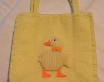 Bag of 12 Yellow Party Favors or Gift Felt Duck Appliqué Bags