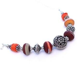 Marsala and Orange Lampwork Glass Necklace