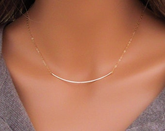 Gold Curved Bar Necklace, Hammered Curved Bar Necklace, 14kt Gold Filled Curved Bar Necklace, Hammered Gold Bar Necklace