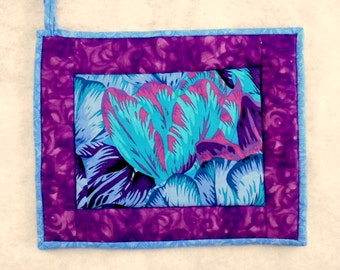 Quilted Pot Holder / Hot Pad -- Oversized Tropical Blue Flower with Purple Borders
