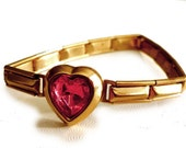 World War II 1940s Sweetheart Expansion Bracelet - Victorian Revival - Teenage - Gold Metal Links - Pink Crystal Heart - Japan - Small Size