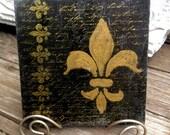 Fleur de lis -  black tile with Stand included