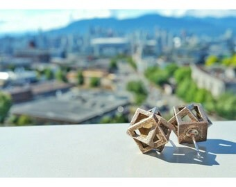 Cube Earrings // 3d printed steel and sterling silver // contemporary geometric jewelry