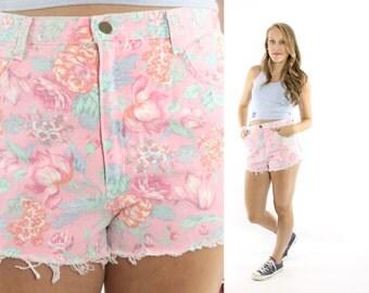 Vintage 80s Floral Cutoff Shorts Pink Denim Short High Waisted Short Summer Fashion 1980s Large L Medium M