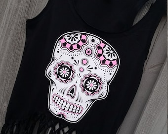 Girls sugar skull glitter fringe asymmetrical tanks! Pick your glitter color for the accents!