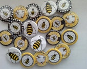 """Bee themed set of 20 1"""" or 1.25 inch bumble bee buttons pin flat back, hollowback or magnets"""
