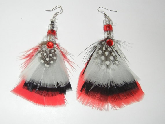 Red-White-Black Feather Earrings-Surgical Steel Wire Loop w/3-Beads w/1 Rhinestone