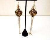 Betsy Johnson Leopard Print Heart Runway Earrings