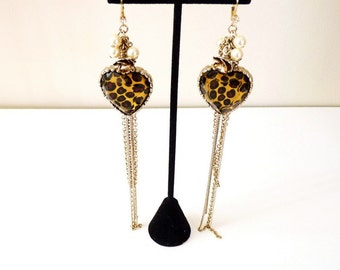 Vintage  Leopard Print Heart Earrings Statement Dangling Earrings Pearl and Rose Charms 3 Inches by Betsy Johnson