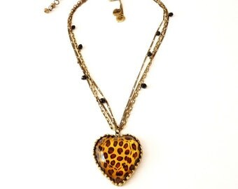 Vintage  Leopard Print Heart Pendant Necklace  17 Inches Antiqued Gold Tone Triple Chains Animal Print by Betsy Johnson