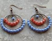 Beaded hoop earrings,coral, periwinkle blue, wire wrapped hoops, chandelier earrings,  bohemian style, gypsy earrings