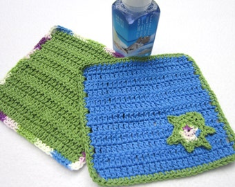 Cotton Dish Cloths withTurtle, Crochet Two Wash Cloths, One with Turtle, Green and Blue Kitchen Dishcloths by Charlene, Ocean Theme Kitchen