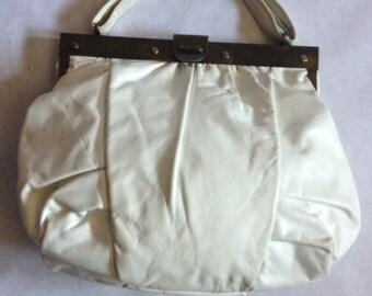 Vintage 80's White Leather Handbag