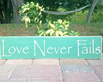 Love Never Fails 18x4 (Choose Color) Rustic Shabby Wood Wall Decor Sign Family Friends Custom Wall Welcome Door Hanger Anniverary Wedding