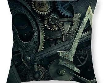 Gear Head Steampunk Throw Pillow, Bedroom, Livingroom, Family Room, Sleep, Housewarming, Decorative, Free Shipping,