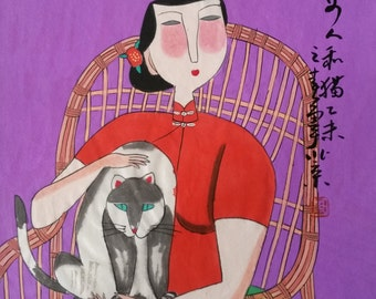 abstract painting Original painting morden art  chinese painting-lady with cat