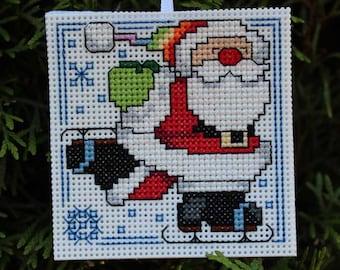 Handmade Christmas Cross Stitch Ornament - Skating Santa