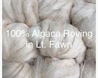 100% Alpaca Roving in Light Fawn