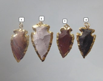 Raw Hammered Jasper Arrowhead Gold Pendant, 25-33mm, 1-1.3 inch, choose your color, sale