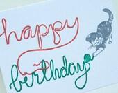 SALE - Happy Birthday Letterpress card - Birthday Kitten - 60% off