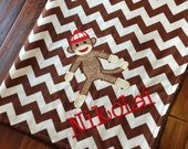 Personalized Baby Blanket-Sock Monkey Baby Blanket- Chevron Minky Blanket- Applique Baby Blanket- Custom Blanket-