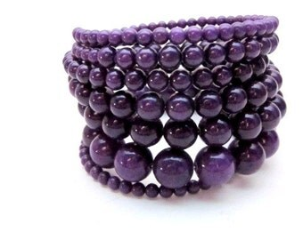 Purple Wrap Bracelet -- Purple Gem Bracelet -- Stacked Purple Bracelet -- Dark Purple Bracelet -- Purple Jade Bracelet -- Large or Small