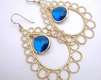 Gold & Blue Glass Earrings -- Blue and Gold Teardrop Earrings -- Royal Blue Drops -- Teardrop Circle Earrings -- Large Gold Teardrop Dangles