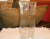 Vintage EO Brody Clear Glass Vase with Wheat Stalk Pattern