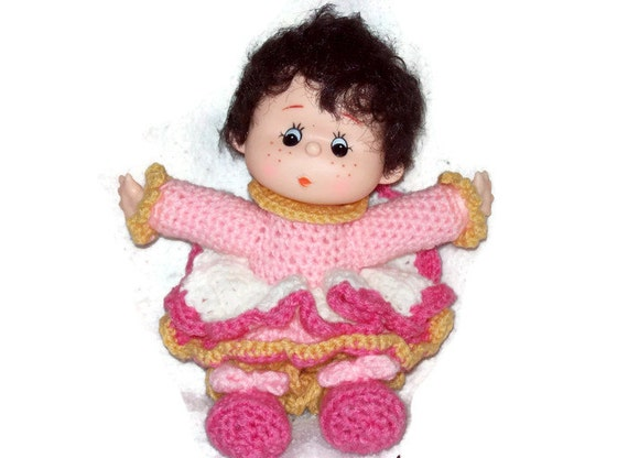 Crochet Yarn Doll  Made With Vintage Head & Hands