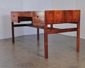 Arne Wahl Iversen Rosewood Desk Danish Modern Writing Table Sleek Design