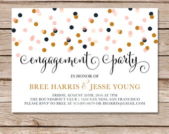 Modern engagement invitation / engagement party invite / engagement party invitation / Printable or Printed Cards