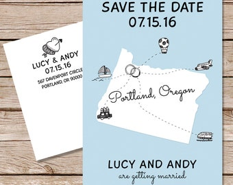 Fun save the date / Wedding postcard / save the date postcard / printable file or printed cards / paper hive studio