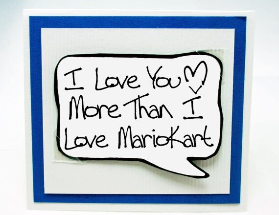 Mario Kart Card. Love You Nintendo Card. Geeky Valentines Day Card for Guys. MN234