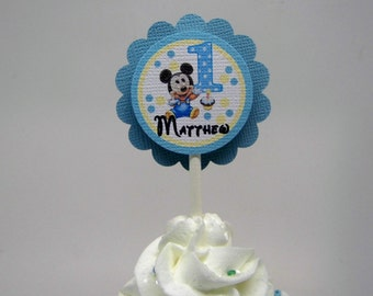 Baby Mickey Mouse 1st  Birthday Cupcake Toppers Set of 12 Personalized With Your Child's Name