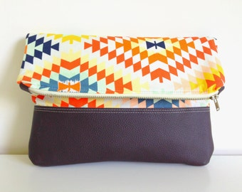 Fold Over Clutch - Ethnic Multicolor Cotton Print with Brown Leather Accent