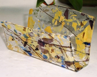 Fused Glass Business Card Holder -  Amber and purple 712