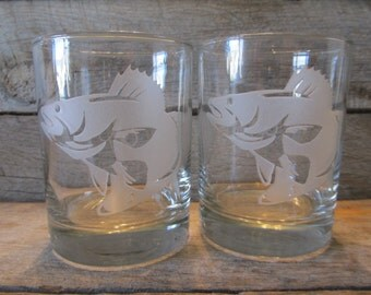 Walleye Pair of Etched  Rocks Glasses - Made to order