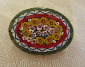 Vintage Jewelry Oval Floral Micro Mosaic Pin Brooch