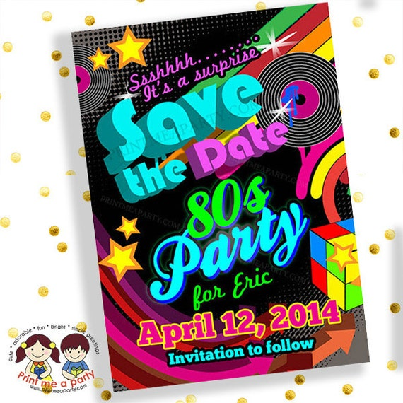 Save the date invitation80s party invitations 80s party invites