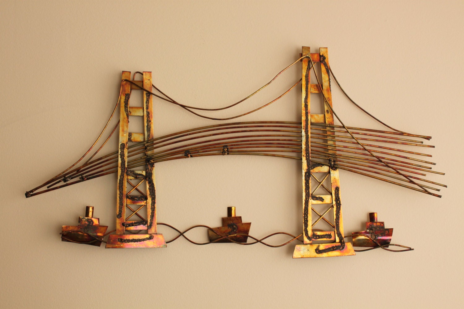 Mid Century Modern Metal Wall Art Of Bridge Curtis By Foxbride
