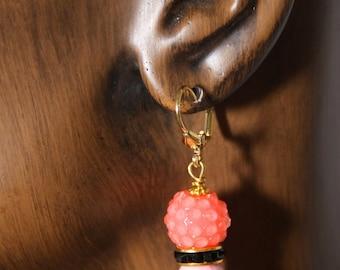 Dangle earrings, Watermelon color, black, pink fossil  # 28