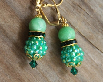 Dangle earrings, Apple color Jade, rhinestones, # 35  Candy Collection