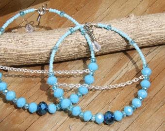 Dangle hoops, Turquoise blue, royal blue Czech glass beads