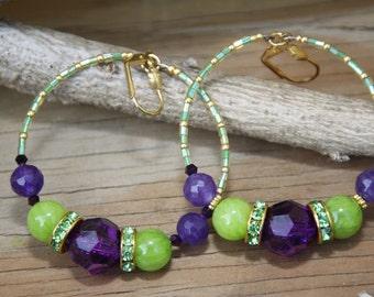 Dangle Hoops,  Apple Green n Purple stones      # Fiesta