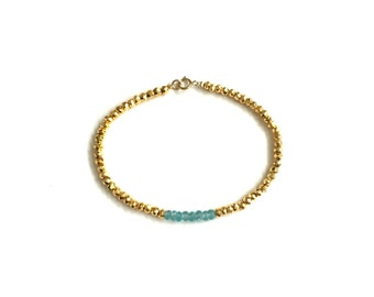 LIMITED EDITION APATITE Single Strand Bracelet | Apatite & Gold Pyrite