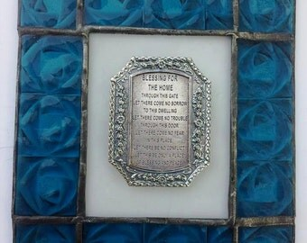 Judaica Home Blessing Wedding New Home Gift Israel Holly Land Design Sign for the Home Stained glass