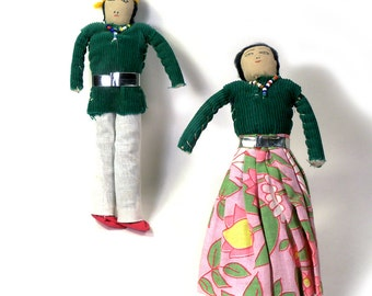 Pair of 1940s Navajo Tourist Cloth American Indian Dolls Seed Bead Trim