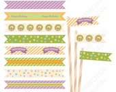 Colorful Candy Bear Printable Straw Flag , colorful pastel green yellow orange party birthday printable , - Instant Download