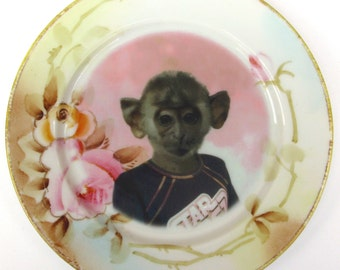 Marky, school portrait - Altered Vintage Plate 6.25""